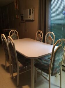 White Kitchen Table with 6 chairs (No delivery)