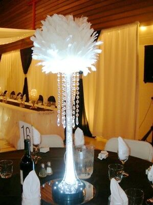 White 12 inches  Large Feather Balls for Centerpieces 1 Piece (GA, USA)   - Feather Centerpiece