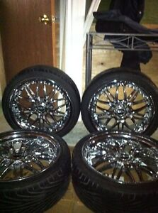 Chrome rims and low profile tires