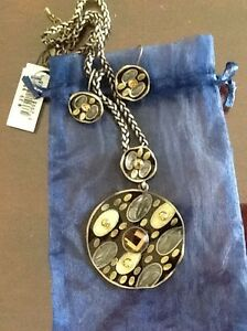 NEW EARRING & NECKLACE SET, RING, SILVER CHAIN, TRAVEL JEWEL CAS