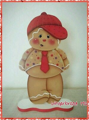 HP Hand Painted Standing Gingerbread Boy Figurine, Red,  Christmas woodcraft