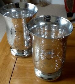 Large Silver Mercury Glass Hurricane Candle Holders x 2
