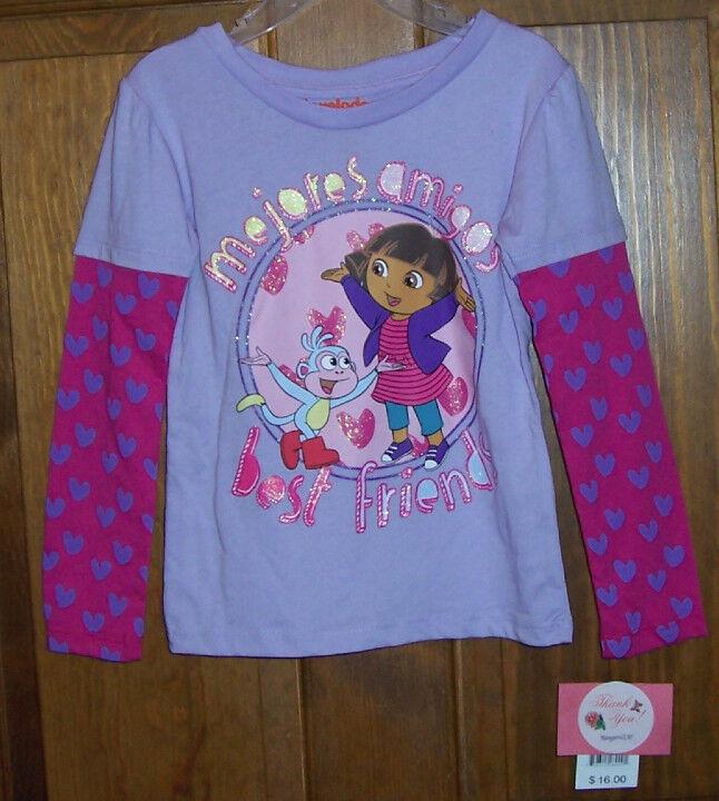 Dora the Explorer Nickelodeon Long Sleeve Tee T Shirt Toddler Girls Size 2T