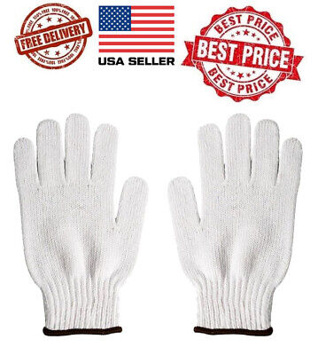 Wholesale 20 Pairs White Poly Cotton String Knit Work Safety Gloves