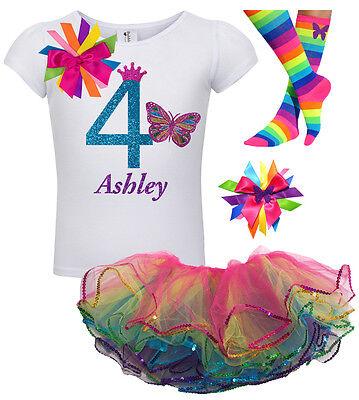 4th Birthday Girl Butterfly Shirt Rainbow Tutu Outfit Set So
