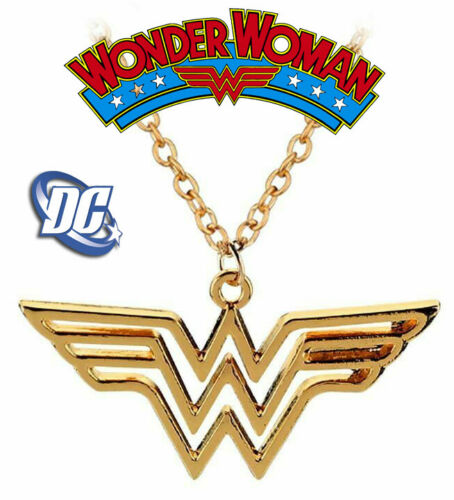 Wonder Woman Symbol Necklace, Gold Jewelry, DC Comics Superhero, Justice League