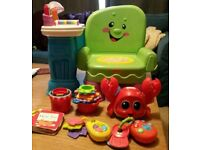 Fisher Price Laugh and Learn chair and bundle of of interactive baby / toddler toys