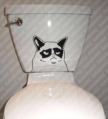 GRUMPY CAT Toilet Vinyl Decal Sticker Funny Meme Angry Bathroom Humor Wall Art