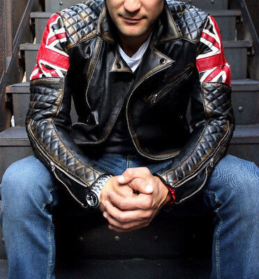 Mens Biker Quilted Motorcycle Cafe Racer Leather Jacket - Best For