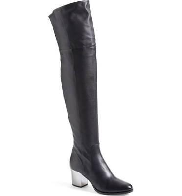 New Womens 39.5 9.5 Jimmy Choo Black Leather Boots Italy Tall Chrome Mercer Knee