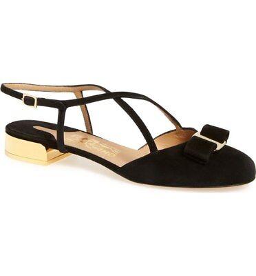 595 SALVATORE FERRAGAMO Felma Sandals,8.5,ITALY,LOGO,Suede,Shoe,Gold Heel,NIB