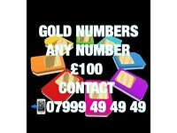 GOLD VIP MOBILE NUMBERS £100