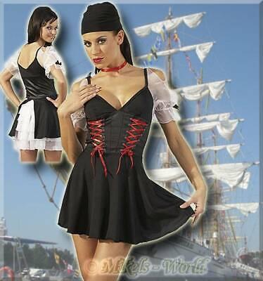 Frivoles 3-tlg. Piraten-Set / Kleid schwarz-weiß-rot