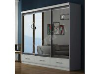 FLAT 70% OFF NOW -- BRAND New MARGO 2 Door Sliding German Wardrobe With 3 Drawers -BLACK AND WHITE