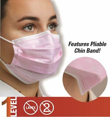 50x Defend Dual Fit Pleasted Earloop Surgical Flu Medical Face Mask Level 1 Pink