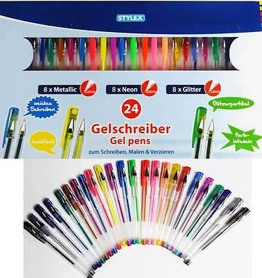 24 Gelschreiber Gelstifte Metallic Neon Glitter Gel pens Gelmalstifte