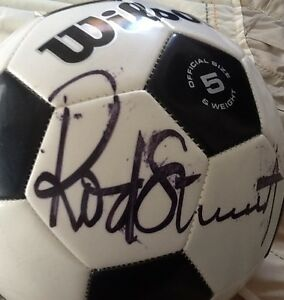 Soccer ball autographed by Rod Stewart