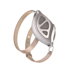 Bellabeat Leaf Nude Leather Bracelet with silver clasps