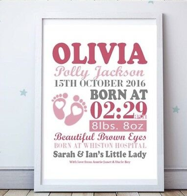 Personalised A4 Design Poster New Baby, Birth, Nursery, Newborn Gift Girl Boy