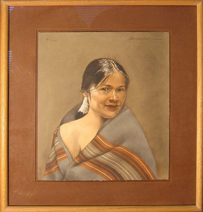 """James Asher """"navajo Girl"""" Hand Signed Numbered Lithograph Of Native Woman Framed"""