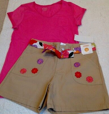 NWT 2pc OUTFIT GYMBOREE Tan Snap/Zip Shorts Floral Belt 12/ TCP Pink Top 10-12