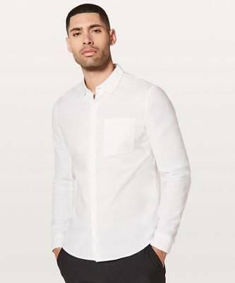 Lululemon Men's All Town Button Down Long Sleeve Shirt WHWH White White Long Sleeve Button