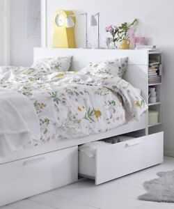 Queen Size White Brimnes bed with headboard