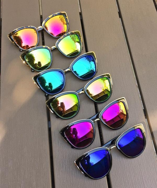 Large Mirror Cat Eye Reflective My Sexy GIRL Fashion Metal Rim Sunglasses 00108