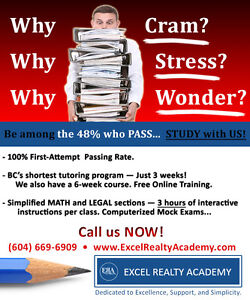*** 3 and 6 week Real Estate Courses to ACE the UBC  Exam ***