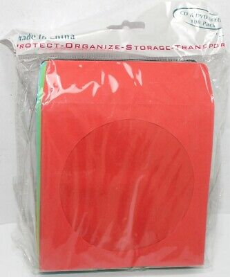 100 Mixed Color Cd Dvd Paper Sleeve Envelopes
