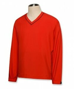 CUTTER-AND-BUCK-WIND-TEC-CB-WINDTEC-RED-ACTIVE-V-NECK-WIND-SHIRT-L-LARGE-GOLF