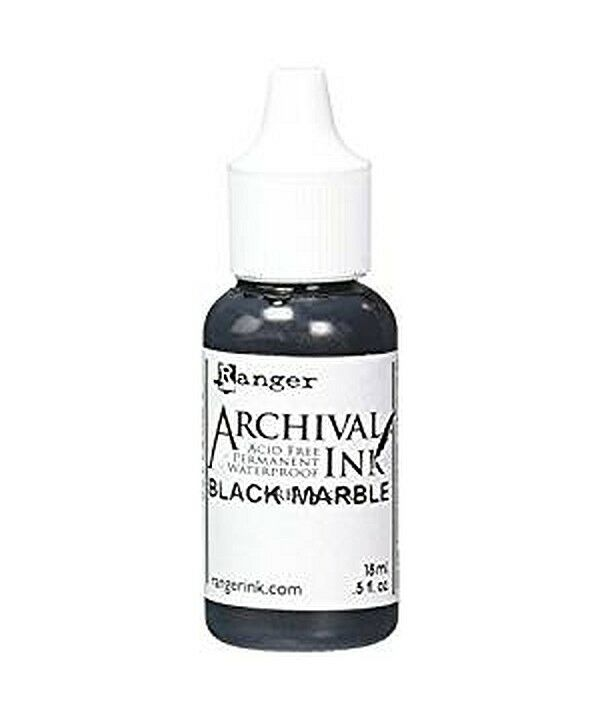 RANGER Archival Reinker .5oz Refill Ink for Stamp Pads Select from 55 colors Black Marble