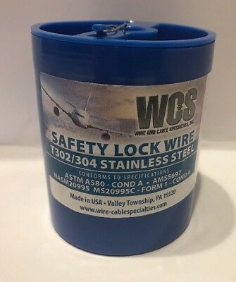 "Aircraft Safety Lock Wire MS20995C32 1 LB. Roll .032"" Diameter T302/304 SS New"