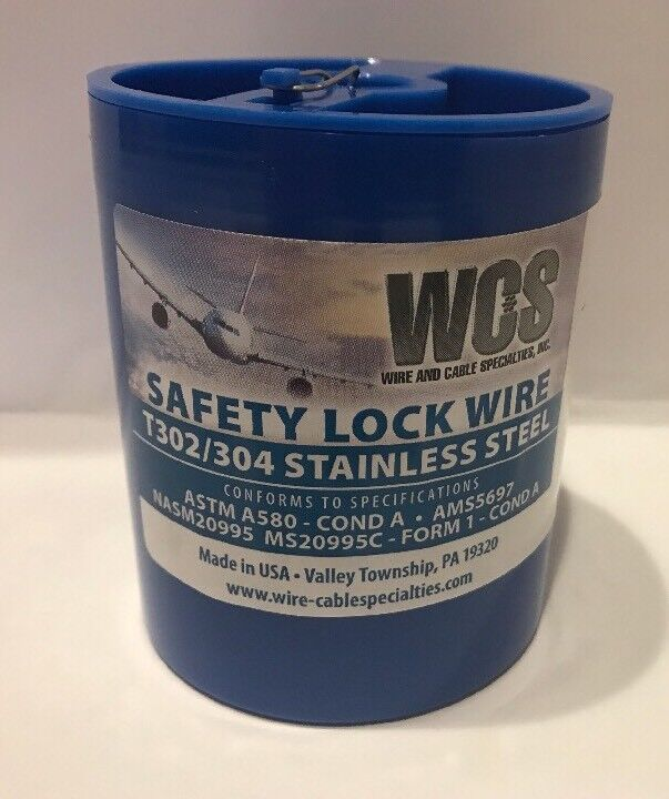 """Aircraft Safety Lock Wire MS20995C-21 1 LB. Roll .021"""" Diameter T302/304 SS New"""