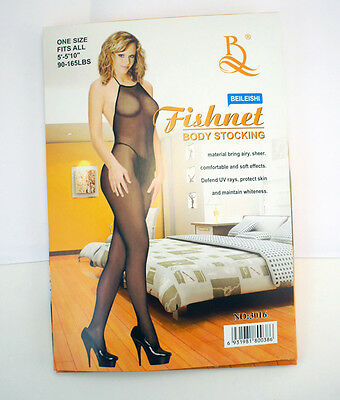 - Sexy Black Fishnet Halter Top Bodystocking Diamond Stretchy Sheer Comfortable US