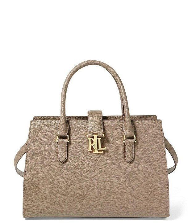 63be11d9ce9b Ralph Lauren Leather Carrington Brigitte II Satchel Bag Taupe Falcon for  sale online