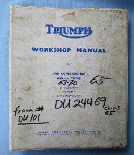 TRIUMPH MOTORCYCLE FACTORY MANUAL BOOK 650cc TWIN 1960s BONNEVILLE TR6 TROPHY 6T