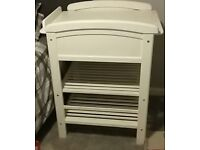Solid white changing table with drawer