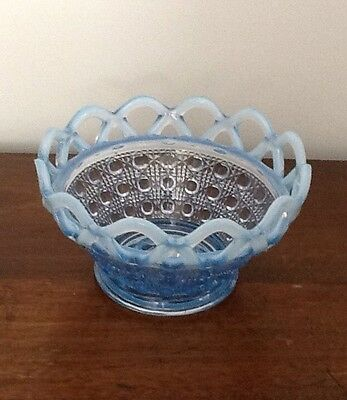 Vintage Imperial Depression Glass Katy Blue Lace Edged Sugar Cane Candy Dish