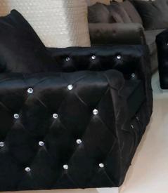 Black diamonte plush velvet Armchair New free local delivery
