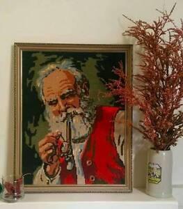 Cross Stitch Man Smoking Pipe Kew Boroondara Area Preview