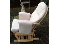 Mothercare Natural Reclining Glider Chair with Beige Cushion cost £150.00 New