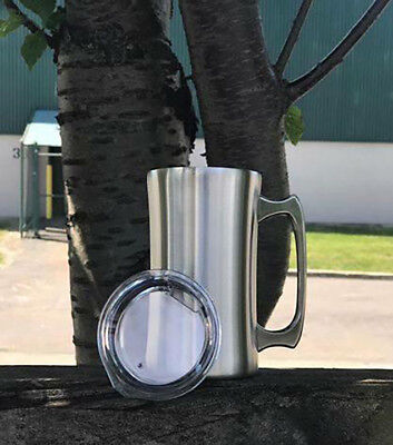 YETI style Beer Mug Stainless with lid 20 Oz Double Wall Insulated Tumbler - 20 Oz Beer Mug