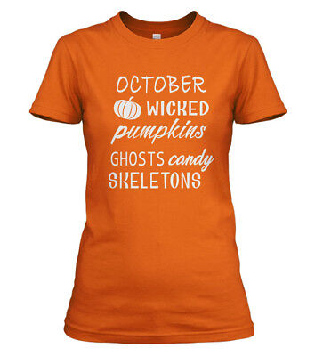 Halloween October Wicked Pumpkins Ghosts Candy Skeletons T-Shirt Orange New ](Orange Halloween Candy)