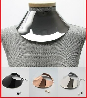 Statement Metal Link Choker Chunky Wide Armor Collar Necklace Egyptian Neck Cuff