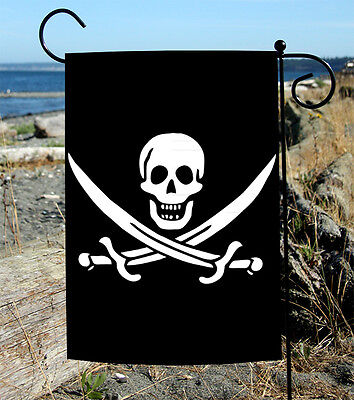 Toland Calico Jack's Jolly Roger 12.5 x 18 Skull Pirate Sword Black Garden Flag