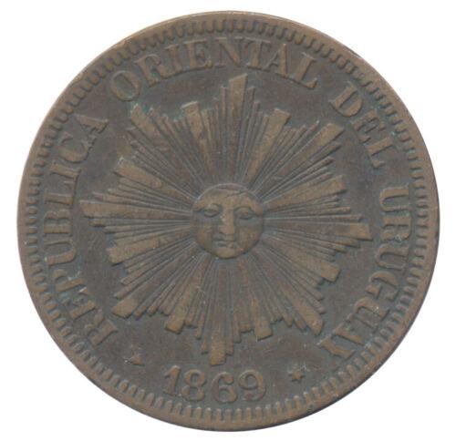 1869 H Uruguay 4 Centesimos KM# 1 Choice Extra Fine Condition Coin