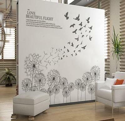 US STOCK Wall Sticker Dandelion Taraxacum Birds Lobby Living Room Bedroom Decal