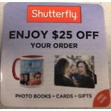 Shutterfly $25 off a $25 order Exp 12/31/2018