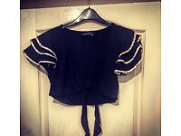 Black Ladies Cardigan With Ruffled Arms - Size 12